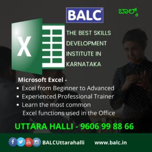 Computer training centre BALC Uttarahalli advance Excel training